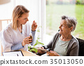 Health visitor and a senior woman with tablet. 35013050