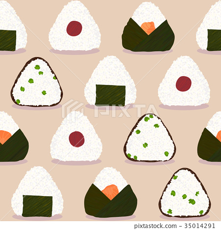 Onigiri pattern. Japanese dish. Rice ball types. 35014291