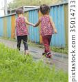 手牽手 姊妹 雙胞胎 35014713