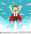 Business hero or superhero flying through the 35015438