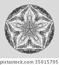 Detaled watercolor mandala. Oriental vintage round 35015705