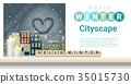 Hello Winter cityscape background 35015730