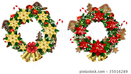 White card with Christmas wreath and bow 35016289