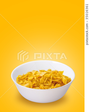 Cereal Corn Flakes Falling Into A Bowl 35016361