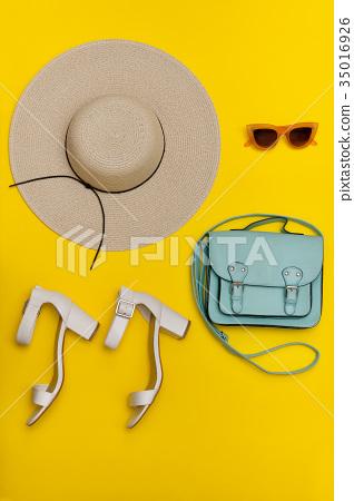 Fashionable concept. Women's beach hat, handbag 35016926