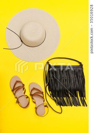 Fashionable concept. Women's beach hat, handbag 35016928