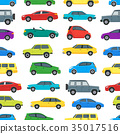 Cartoon Cars Background Pattern on a White. Vector 35017516