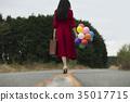 여성, 여자, 풍선 35017715