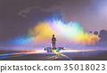 man with paint buckets stands in front of cloud 35018023
