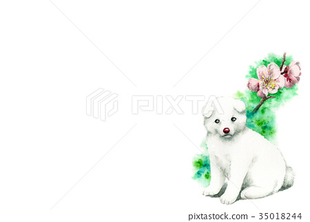 白色小狗新年明信片材料 35018244