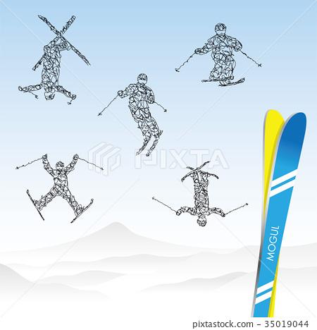 雪山和滑雪者 35019044