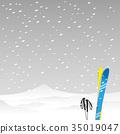 雪山和滑雪者 35019047