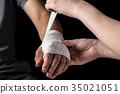 붕대, 손, 여성 35021051