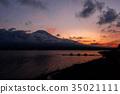 山中湖 富士山 日落 35021111
