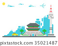 Flat design Seoul landmarks set background 35021487