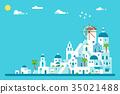 Flat design Santorini island village 35021488