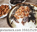 Natto with cooked rice and seaweed Japanese food 35022529