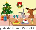 สัตว์,ภาพวาดมือ สัตว์,คริสต์มาส 35025036