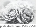Charcoal Drawing; A Gift of Preservrd Flower 35025558