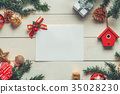 Christmas background with decorations on wooden 35028230