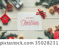 Christmas background with decorations on wooden 35028231