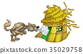 Three Little Pigs Big Bad Wolf Blowing Straw House 35029758