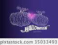 geometric art, line and dot of pumpkin. 35033493
