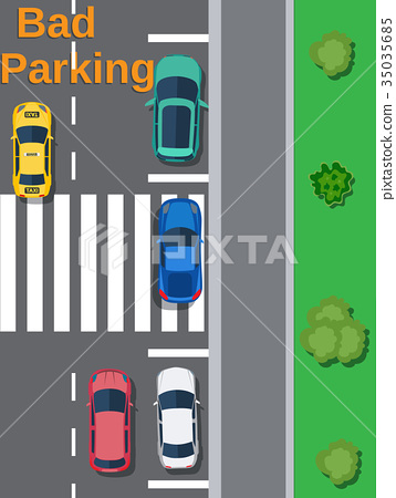 City parking lot with different cars. 35035685