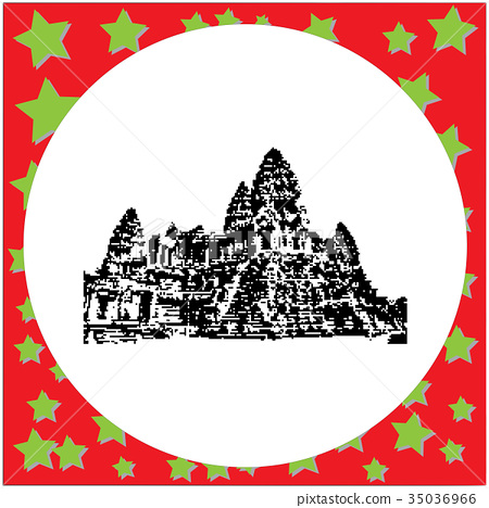 black 8-bit Angkor Wat vector illustration 35036966