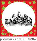 black 8-bit Angkor Wat vector illustration  35036967