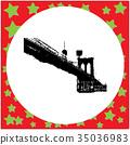 black 8-bit Brooklyn Bridge vector illustration 35036983