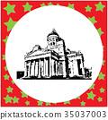 black 8-bit Helsinki Cathedral vector illustration 35037003