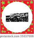 black 8-bit Hollywood Sign vector illustration 35037006