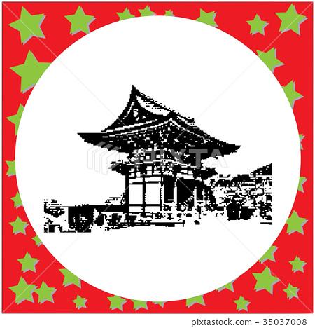 black 8-bit two Storey Pagoda in Kiyomizu Dera 35037008