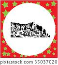 black 8-bit Machu Picchu in Peru vector 35037020
