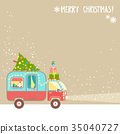 Vector background, merry christmas  text. House o 35040727