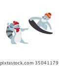 Raccoon playing snowballs and dog snowboarding 35041179