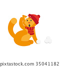 vector flat cat character making ice balls 35041182
