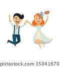 groom, bride, vector 35041670