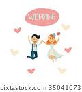 groom, bride, vector 35041673