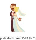 groom, bride, vector 35041675