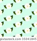White Camellia Flower Seamless on Green Mint 35041845