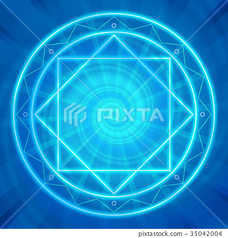 Magic circle, Sacred geometry, glowing neon lines 35042004