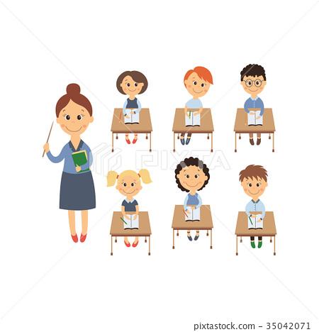 vector flat children sitting at desk, teacher set 35042071
