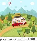 bus, countryside, vector 35042080