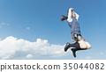 여고생 점프 푸른 하늘 35044082