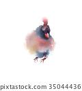 Winter fluffy soft bird hand drawn watercolor 35044436