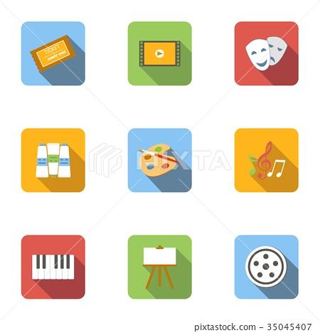 Art icons set, flat style 35045407