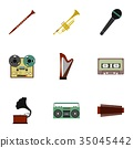 Musical device icons set, flat style 35045442