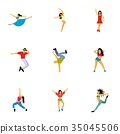Kind of dances icons set, flat style 35045506